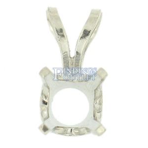 14K White Gold Round Pendant Setting Rabbit Ear Bail Mounting 0.05ct 5.00ct