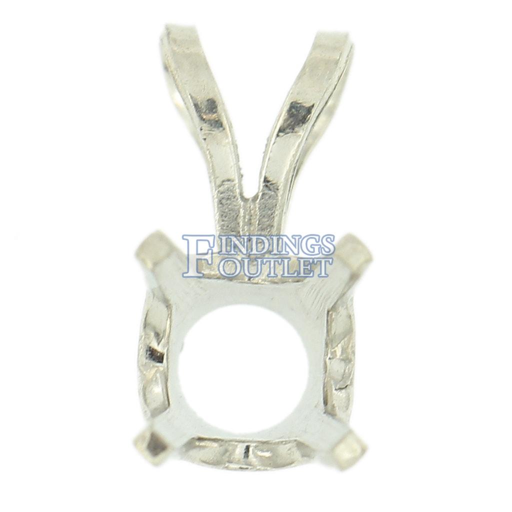 14K White Gold Round Pendant Setting Rabbit Ear Bail Mounting 0.05ct 2.00ct