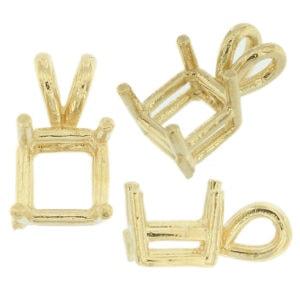 14K White Gold Emerald Pendant Setting Rabbit Ear Bail Mounting 0.20ct 33.00ct