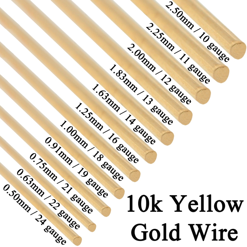 10k Solid Yellow Gold Round Wire Half Hard 1 Inch 10ga 24 Gauge 0 5mm 2 5mm Findings Outlet
