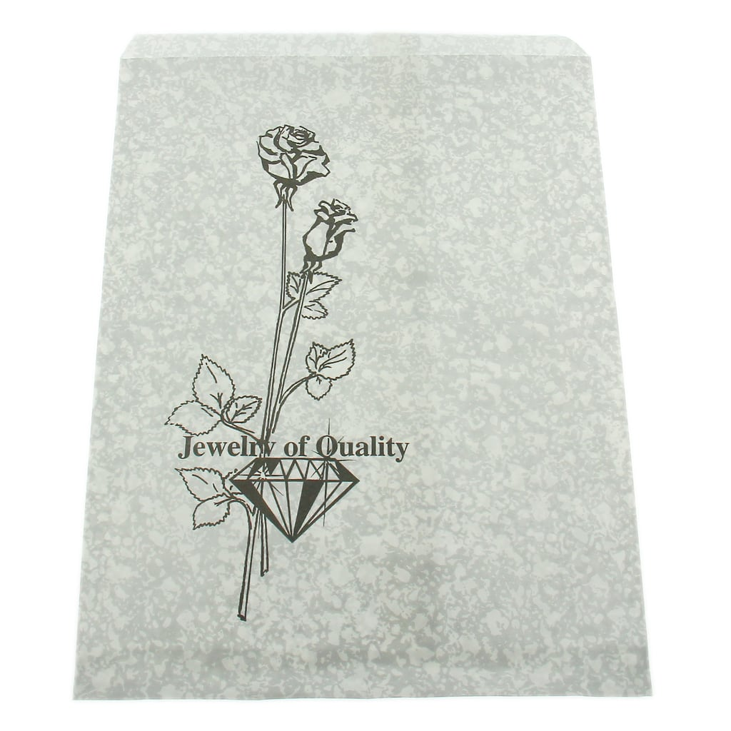 """Pack of 100pcs Flower Design Silver 8.5/"""" x 11/""""H Paper Gift Bags Jewelry Packagin"""