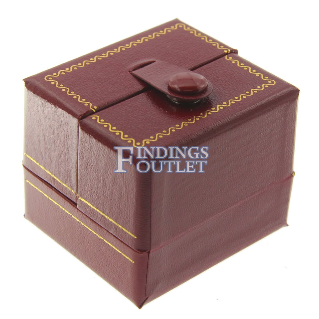 Red Faux Leather Engagement Ring Box Display Jewelry Gift Boxes Classic 1 Dozen